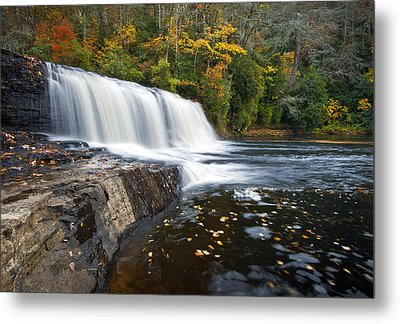 Hooker Falls In Autumn - Fall Foliage In Dupont State Forest Metal Print by Dave Allen