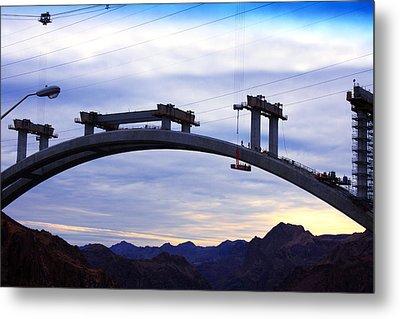 Hoover Dam Bridge Under Construction Metal Print