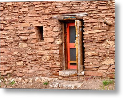 Hopi House Door Metal Print by Julie Niemela