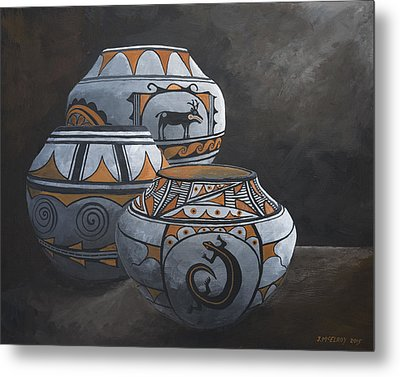 Hopi Pots Metal Print by Jerry McElroy