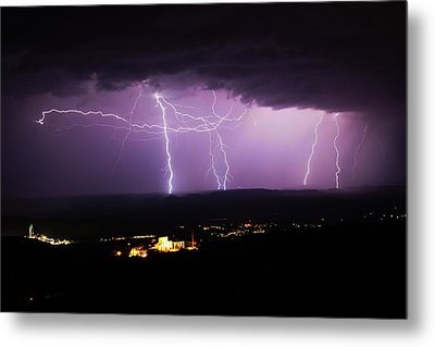 Metal Print featuring the photograph Horizontal And Vertical Lightning by Ron Chilston