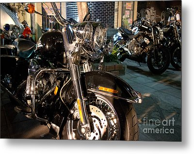 Horizontal Front View Of Fat Cruiser Motorcycle With Chrome Fork Metal Print by Jason Rosette