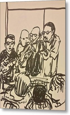 Horn Section Blue Monday Metal Print by James Christiansen