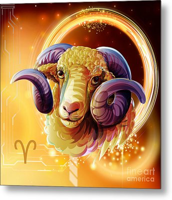 Horoscope Signs-aries Metal Print by Bedros Awak