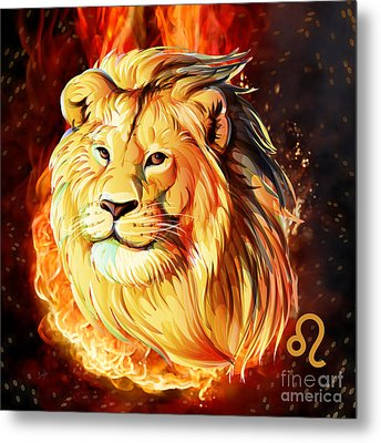 Horoscope Signs-leo Metal Print by Bedros Awak