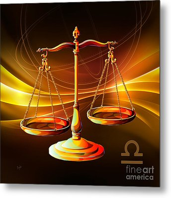 Horoscope Signs-libra Metal Print by Bedros Awak