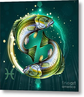 Horoscope Signs-pisces Metal Print by Bedros Awak