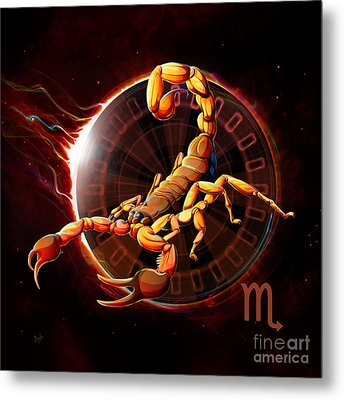 Horoscope Signs-scorpio Metal Print by Bedros Awak