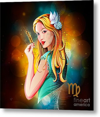 Horoscope Signs-virgo Metal Print by Bedros Awak