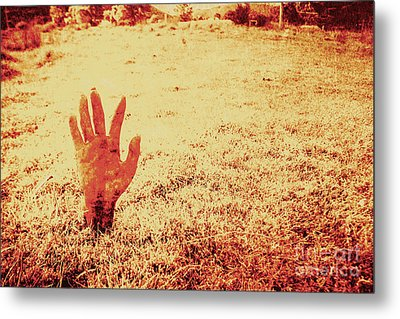 Horror Hand Of A Zombie Awakening Metal Print by Jorgo Photography - Wall Art Gallery
