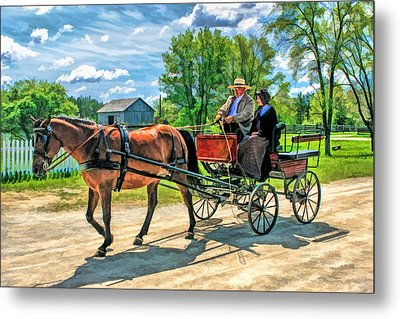 Horse And Buggy At Old World Wisconsin Metal Print by Christopher Arndt