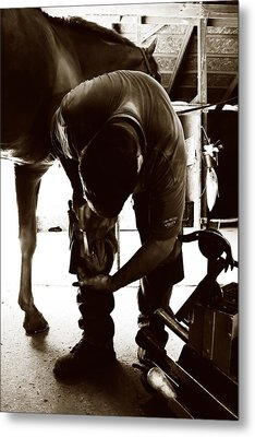 Horse And Farrier Metal Print by Angela Rath