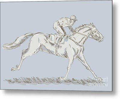 Horse And Jockey Metal Print by Aloysius Patrimonio