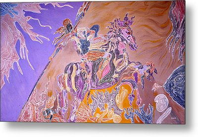 Horse Back Rider Metal Print by Sima Amid Wewetzer