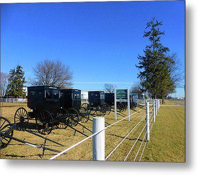 Horse Buggies For Sale Metal Print by Tina M Wenger