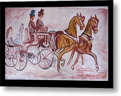 Metal Print featuring the painting Horse Chariot by Anand Swaroop Manchiraju