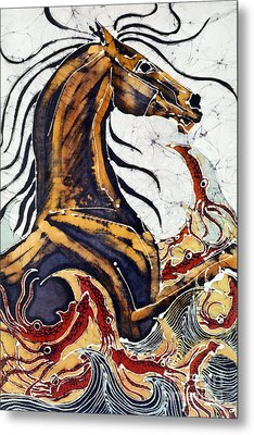 Horse Dances In Sea With Squid Metal Print