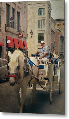 Horse Drawn Carriage - Old Montreal Metal Print by Maria Angelica Maira