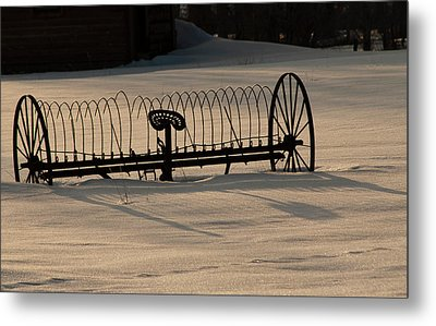 Metal Print featuring the photograph Horse Drawn Hay Rake by Daniel Hebard