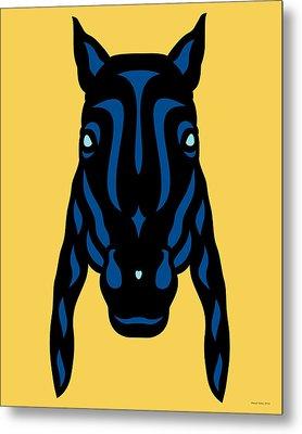 Horse Face Rick - Horse Pop Art - Primrose Yellow, Lapis Blue, Island Paradise Blue Metal Print by Manuel Sueess
