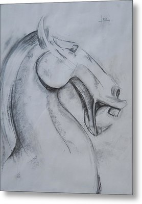 Horse Face Metal Print by Victor Amor