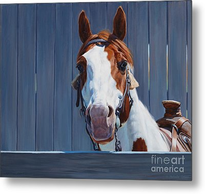 Horse Fence Metal Print by Michelle Grant