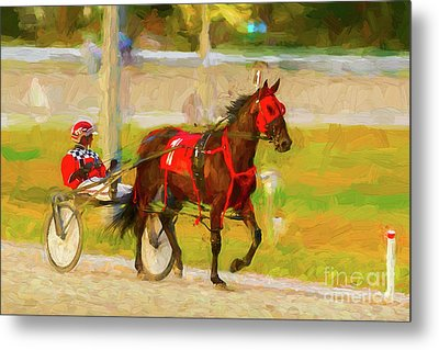 Horse, Harness And Jockey Metal Print