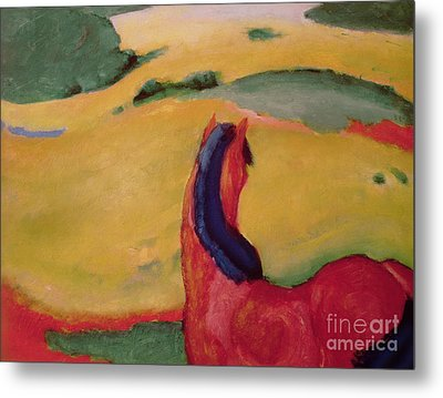 Horse In A Landscape Metal Print by Franz Marc