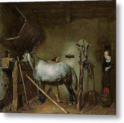 Horse In A Stable Metal Print by Gerard Terborch