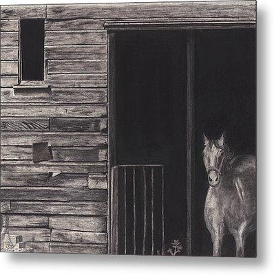 Horse In Barn Metal Print by Bryan Baumeister