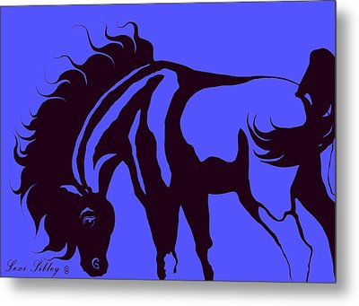 Horse In Blue And Black Metal Print