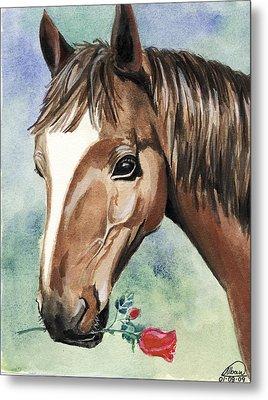 Horse In Love Metal Print