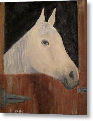 Horse In Stall Metal Print