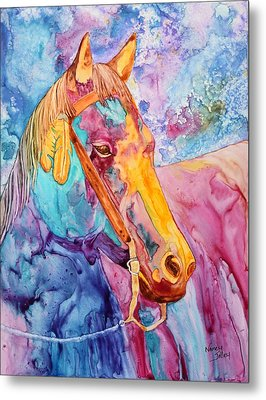 Horse Of Many Colors Metal Print by Nancy Jolley