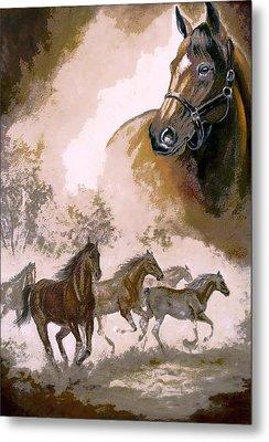 Horse Painting A Dream Of Running Wild Metal Print by Regina Femrite