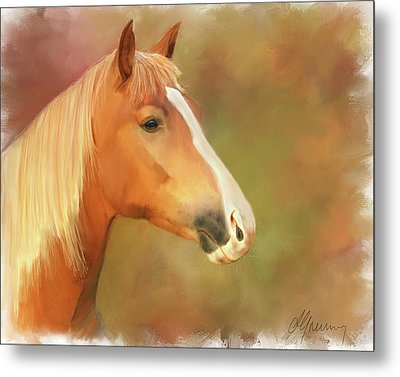 Horse Painting Metal Print by Michael Greenaway
