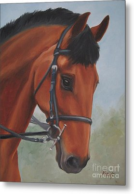 Metal Print featuring the painting Horse Portrait by Jindra Noewi