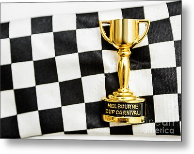 Horse Races Trophy. Melbourne Cup Win Metal Print