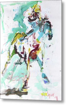 Horse Racing Painting Metal Print