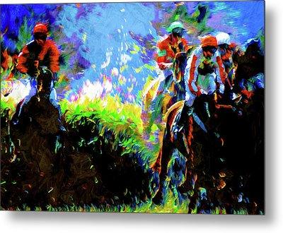Horse Racing Semi Abstract Metal Print
