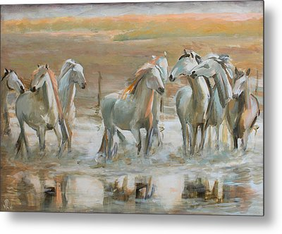 Horse Reflection Metal Print by Vali Irina Ciobanu
