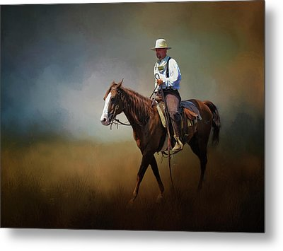 Metal Print featuring the photograph Horse Ride At The End Of Day by David and Carol Kelly