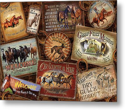 Horse Sign Collage Metal Print by Michelle Grant Cynthie Fisher JQ Licensing