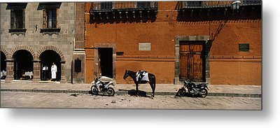 Horse Standing Between Two Motorcycles Metal Print by Panoramic Images