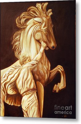 Horse Statue Metal Print by Nancy Bradley