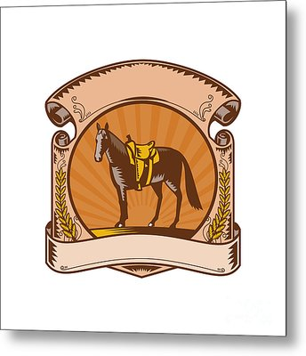 Horse Western Saddle Scroll Woodcut Metal Print