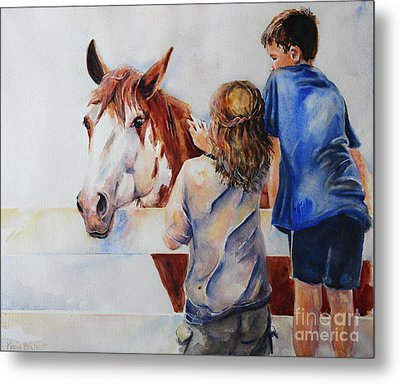 Horses And Children Painting Metal Print by Maria's Watercolor