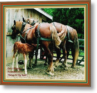 Horses At The Barn H A With Decorative Ornate Printed Frame. Metal Print by Gert J Rheeders