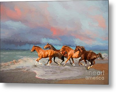 Horses At The Beach Metal Print by Mim White