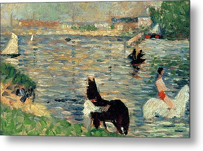 Horses In A River Metal Print by Georges Pierre Seurat
